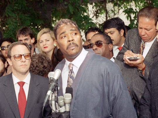 Rodney King speaks during a news conference in Los