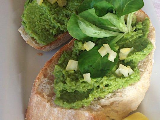 Spring Pea & Preserved Lemon Crostini make a colorful starter.