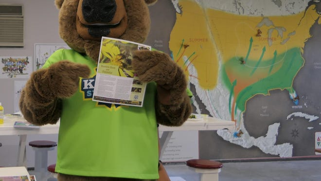 Ike, the Kansas State Fair's new mascot, visits the fair's pollinator party in June.