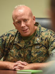 Col. Brent W. Bien, Marine Corps Activity Guam officer-in-charge, speaks to members of the media at the Corps' headquarters in Finegayen on Thursday, Oct. 13. Col. Bien assumed the duties as OIC on Sept. 28, 2016.