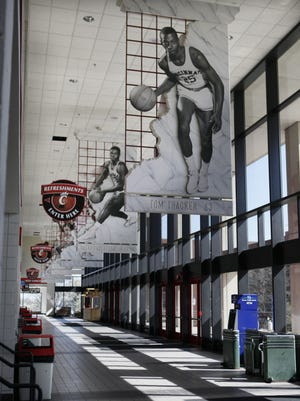 The narrow east concourses at the  Fifth Third Arena / Shoemaker Center.