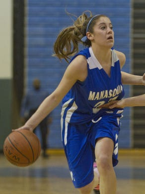 Katelynn Flaherty, shown playing for Manasquan in 2012, topped the 2,000-point mark in just three seasons.