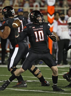 Texas Tech quarterback Alan Bowman (10) sets up to pass during the Red Raiders' 35-33 victory Sept. 12 against Houston Baptist. Bowman, who threw for 430 yards against HBU, will face Texas for the first time on Saturday.