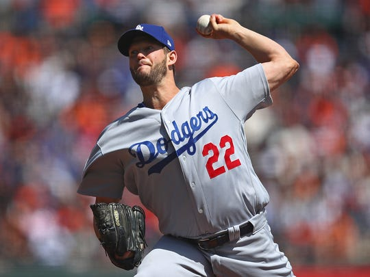 Los Angeles Dodgers pitcher Clayton Kershaw works against the San Francisco Giants during the first inning of a baseball game Sunday, April 8, 2018, in San Francisco. (AP Photo/Ben Margot)