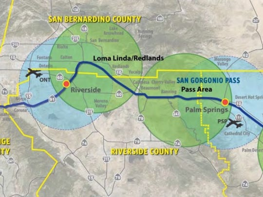 Route chosen for train from Indio to Los Angeles