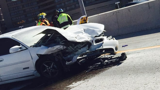 Two people were hospitalized after a car accident in Sparks, Nevada Highway Patrol said Tuesday afternoon.