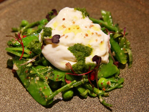 Burrata, winter peas, pomegranate, radish, salsa verde at Mora Italian ...