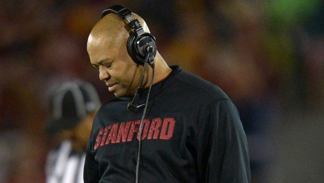 Stanford coach David Shaw reacts during his team's 20-17 loss to USC on Saturday at Los Angeles Memorial Coliseum.