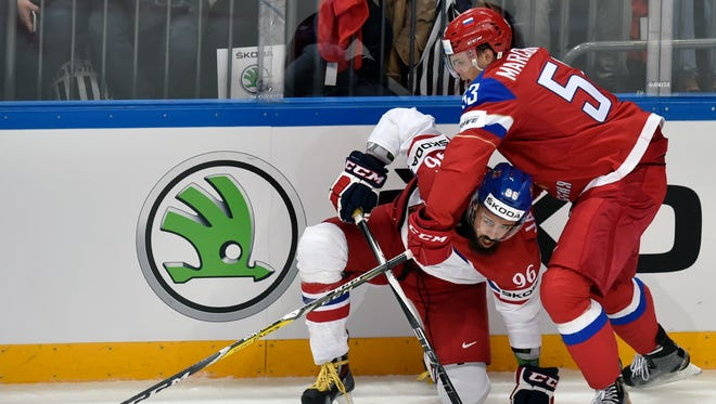 Russia defenseman Alexey Marchenko plays against the Czech Republic in the IIHF World Championship in Moscow on May 6, 2016.