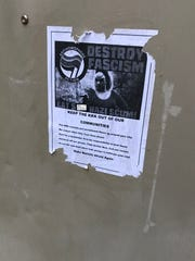 This flier, featuring a photo of cult star Divine and calling on Lafayette to stand up to the KKK, was found this week on an alley entrance to Pride Lafayette, 640 Main St.