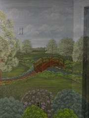 """Nature Wall mural painted by Art Therapist Doreen Lorenzetti helps to calm patients in Acute Care Unit of the Carrier Clinic in Bell Mead."