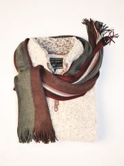 True Grit Pullover and winter scarf available at Brother's on the Boulevard