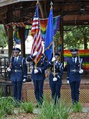 A Color Guard from Hurlburt Field presents the colors