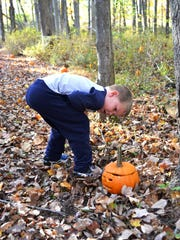 Found one! Searching for jack o'lanterns at Fosterfields Living Historical Farm in Morris Township.