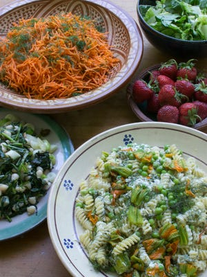 """Photo of June menu from """"Fresh Cooking: A Year of Recipes from the Garrison Institute."""""""
