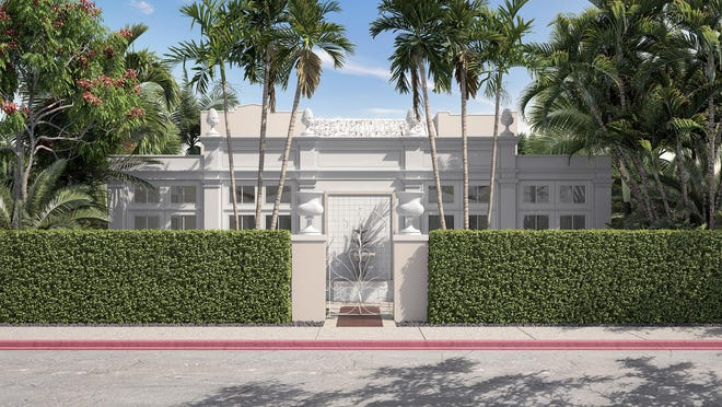 With pineapple finials at the roofline, a  new front addition has been endorsed by the Palm Beach Architectural Commission for private Club Colette at 215 Peruvian Ave.
