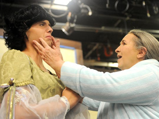 """Spencer Conrad and Suzanne Allen rehearse a scene from """"Leading Ladies"""" Tuesday night at Founders Auditorium on the OSU-Mansfield campus."""