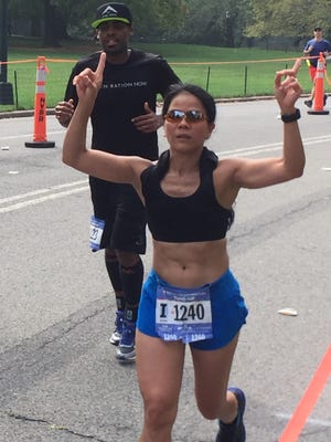 Bernadette Carlson of Harrington Park competed in the 18-mile New York City Marathon Tune-Up on Sept. 17 in Central Park.