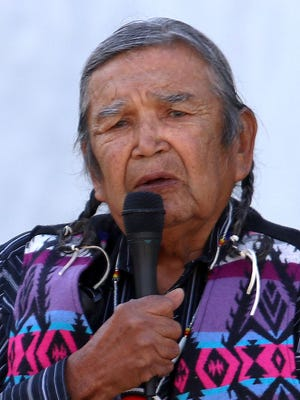Chief of the Cascade Tribe Johnny Jackson speaks during a rally on the capitol steps to protest a proposed Nestle water bottling plant in the city of Cascade Locks. Photo taken on Wednesday, Sept. 16, 2015, in Salem, Ore.