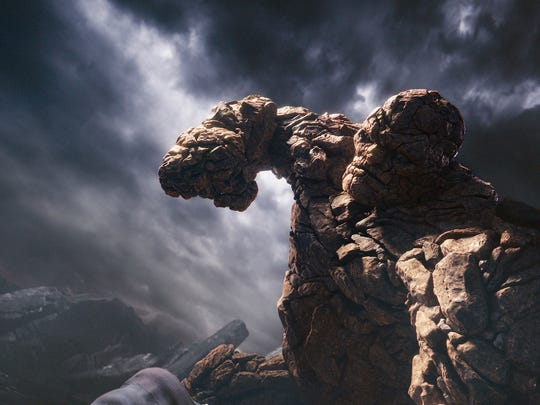 "This photo provided by courtesy Twentieth Century Fox shows, The Thing, in a scene from the film, ""Fantastic Four,"" releasing in U.S. theaters on Aug. 7, 2015. (Twentieth Century Fox via AP)"
