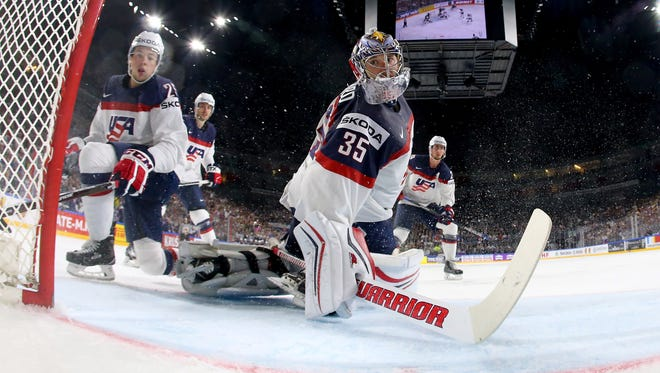 Jimmy Howard at the 2017 IIHF Ice Hockey World Championship game between Slovakia and USA at Lanxess Arena on May 14, 2017 in Cologne, Germany.