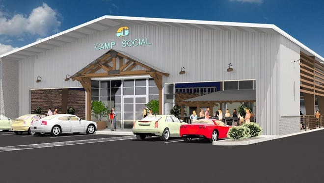 A rendering of Camp Social, a new camping-themed restaurant opening on Seventh Street in central Phoenix.