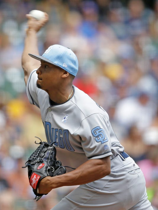 San Diego starting pitcher Luis Perdomo throws to the Milwaukee Brewers during the first inning of a baseball game, Sunday, June 18, 2017, in Milwaukee. (AP Photo/Jeffrey Phelps)