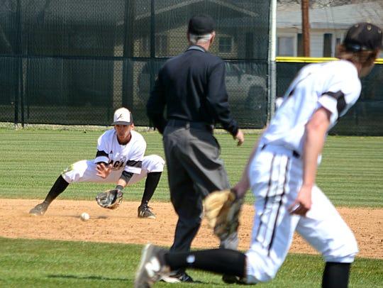 Abilene High second baseman Marcus Romero fields a
