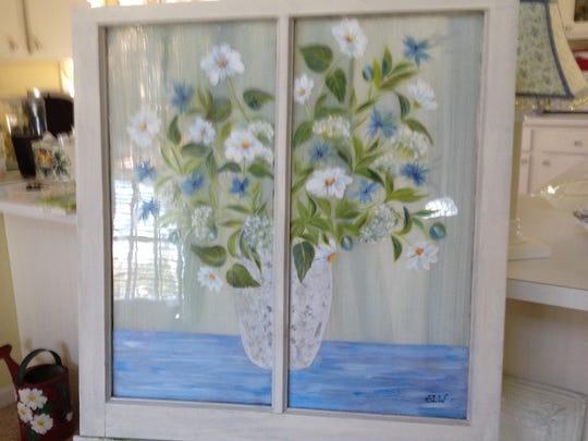 Hand-painted vintage window.