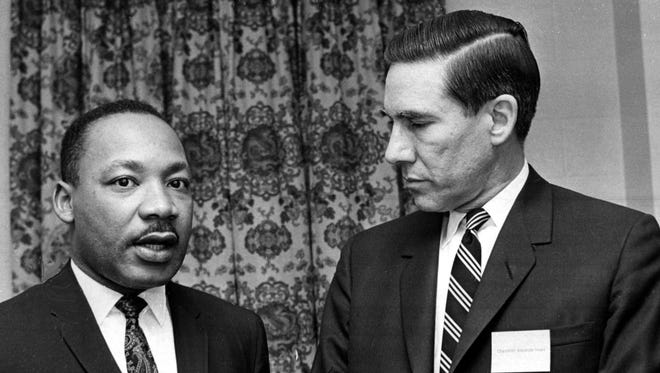Alexander Heard, right, chancellor of Vanderbilt University, welcomes civil rights leader Dr. Martin Luther King Jr. to the school's annual Impact symposium in April 1967.