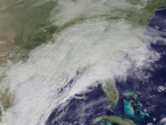 Satellite image of the upcoming coastal storm (Source: NOAA Satellites)