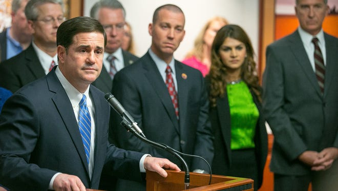 Arizona Gov. Doug Ducey, shown on Feb. 10, called on the Center for Arizona Policy to do more to help child welfare in the state during an event for the group at the Capitol on Wednesday, Feb. 11, 2015.