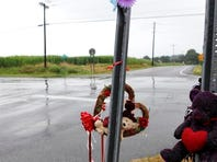 Mourners left toys and flowers at a makeshift memorial for the three young people killed in the crash July 16 at North Road and Route 36 in Wheatland. Officials are now taking steps to improve the intersection.