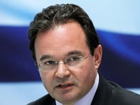 In this July 5, 2010 file photo, Greek Finance Minister George Papaconstantinou speaks during a news conference in Athens.