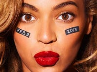 Beyonce rehearses for the Super Bowl
