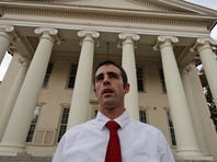 Joshua Harper, of State College, Pa.,  a member of the Jerry Sandusky jury, stands in front of the Centre County Courthouse in Bellefonte, Pa., on Oct. 5, 2012.  Harper, who has bachelor's and master's degrees from Penn State, said that he takes pride in having served on the jury, and that the guilty verdict was not a close call.