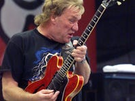 Alvin  Lee of Ten Years After, photographed on Aug. 14, 1998, 29 years after playing Woodstock at the same site.