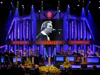George Jones' casket sits in front of the stage before the country legend's public funeral service at the Grand Ole Opry.