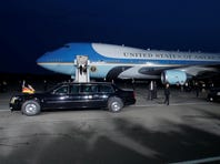 President Obama and first lady Michelle Obama board Air Force One  in Berlin on June 19.