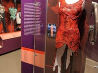 The raw meat dress worn by Lady Gaga at a 2010 awards ceremony is on display at the National Museum of Women in the Arts in Washington, D.C.