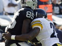 Raiders wide receiver Darrius Heyward-Bey says he has no recollection of this hit by  Steelers safety Ryan Mundy.