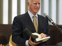 Gov. Jerry Brown smiles after speaking to congregants celebrating Yom Kippur at Temple Emanuel in Beverly Hills. Sept. 26. He recently signed a bill that could help give juveniles easier sentencing