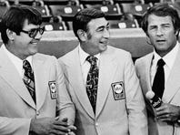 Alex Karras (left), shown here in November 1975 with fellow Monday night football broadcasters Howard Cosell and Frank Gifford, enjoyed a long career as a broadcaster and actor after he retired from the NFL's Detroit Lions after the 1970 season.