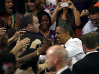 Mitt Romney shakes hands with supporters at a campaign rally at the U.S. Cellular Center Oct. 11 in Asheville, N.C.