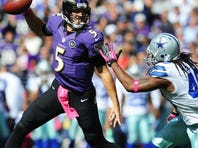 The pressure will be on Baltimore Ravens quarterback Joe Flacco, No. 5, with defensive stalwart Ray Lewis done for the season.