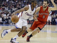 Los Angeles Clippers point guard Chris Paul (3) drives against Toronto Raptors point guard Jose Calderon (8) in Clippers win on Sunday.