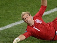 England goalkeeper Joe Hart stops a penalty during the loss to Italy on penalty kicks in the Euro 2012 quarterfinals.