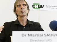 Martial Saugy, head of the Swiss Laboratory for Doping Analyses (LAD) of the Centre Hospitalier Universitaire Vaudois, CHUV, speaks during a press conference after accusations by U.S. Anti-Doping Agency CEO Travis Tygart, in Lausanne, Friday.