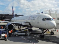A Delta Air Lines Boeing 757 at the gate at New York JFK (John F. Kennedy) International Airport on Oct. 18, 2012.