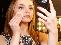 Christina Ricci reveals her engagement ring at the debut of her Make Up For Ever Remix Make Up Bag at The Grove in Los Angeles.